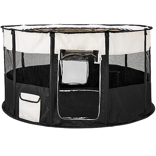 TecTake Parque para Perro Cachorros Corralito Jugar Animales Mascotas Plegable 114 x 60,5 cm (diámetro x Alto) (Negro | no. 402438): Amazon.es: Productos ...