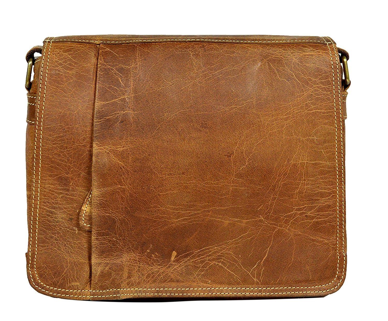Prastara Leather Brown Shoulder Messenger Passport Purse Sling Cross Body Bag