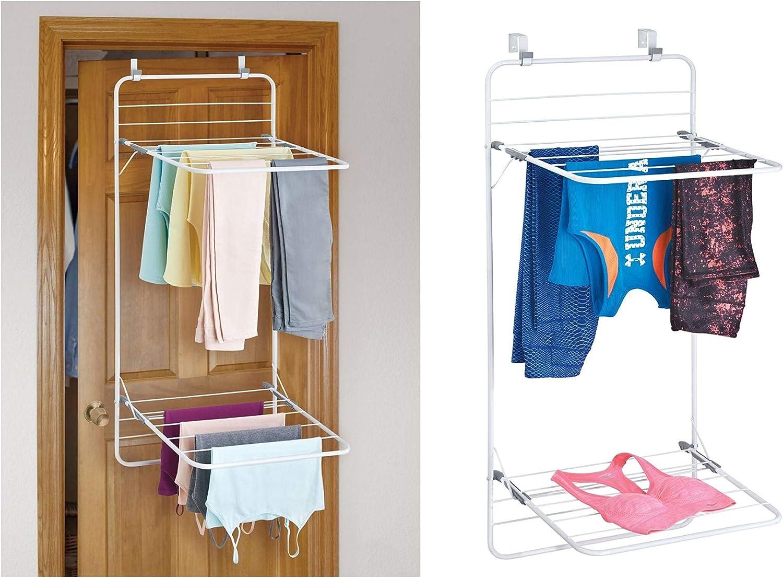 InterDesign - Brezio - Tendedero para Colocar Sobre Perfil de Puerta, para el lavadero - Doble Estante - Blanco/Gris