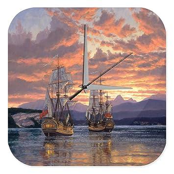 Reloj De Pared Océanos Decoración Regata de sol de la tarde Plexiglas: Amazon.es: Hogar