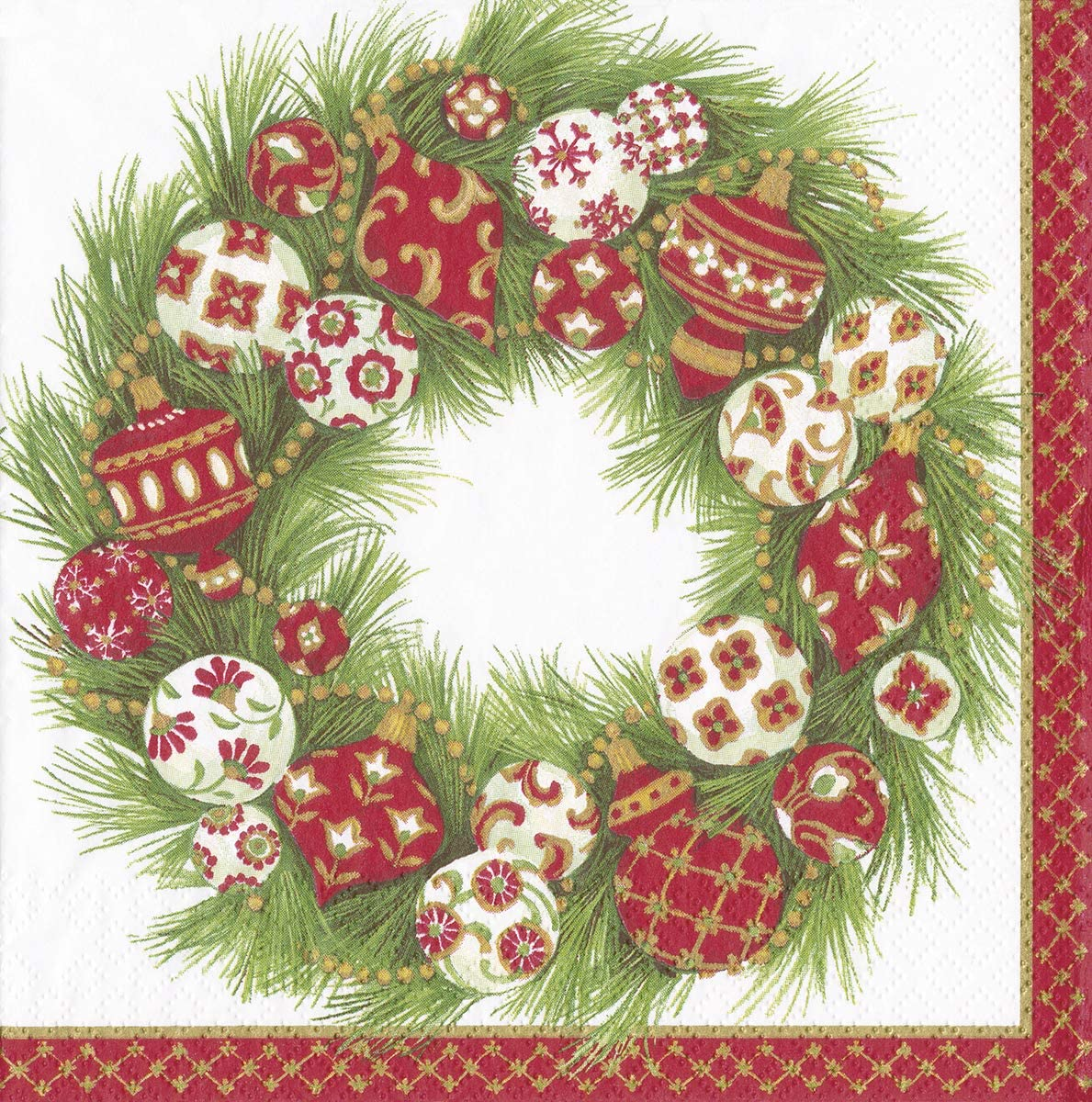 Pinecones Ivory by Gertrude Hamilton Christmas Caspari Paper Luncheon Napkin 20 in Pack 33cm Square