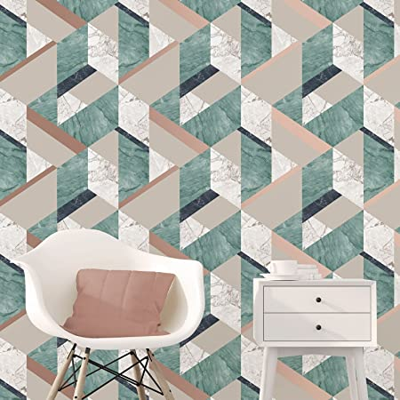 Fine Decor Marblesque Geometric Marble Wallpaper Emerald Green And Gold
