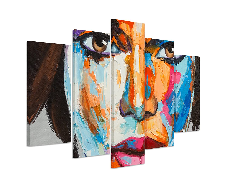 Bilderskulptur 5 teilig Breite 150cm x Höhe 100cm Buntes modernes Ölgemälde – Frauenportrait auf Leinwand exklusives Wandbild moderne Fotografie für ihre Wand in vielen Größen