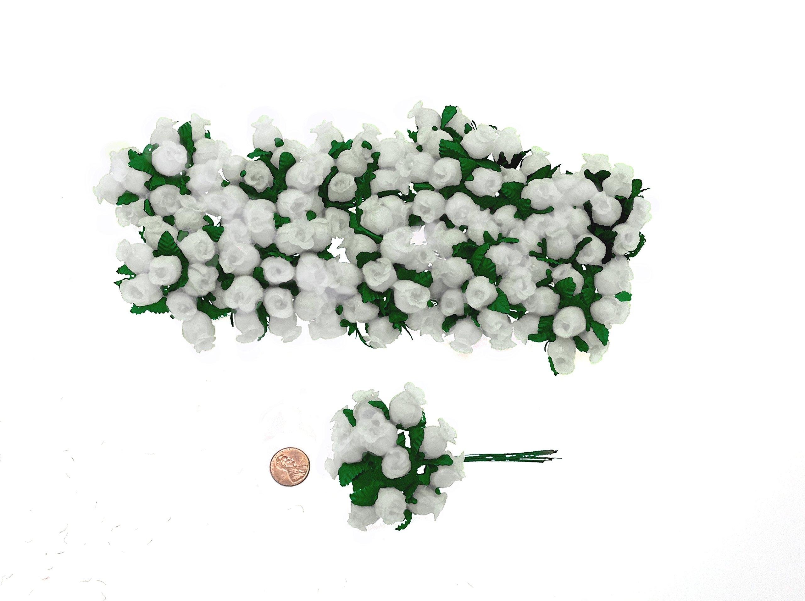 144-Poly-Rose-Silk-Favor-Flower-Pick-Wedding-Shower-White