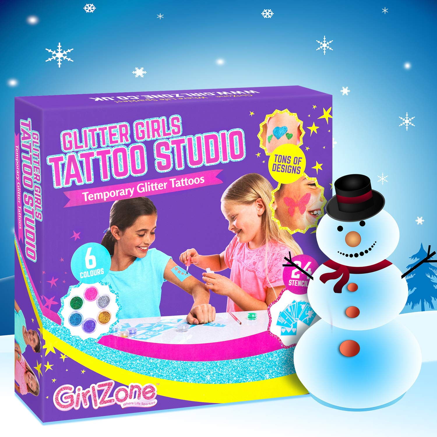 amazoncom girlzone temporary glitter tattoos kit including 33 pieces best christmas birthday present idea for girls age 6 7 8 9 years old toys games