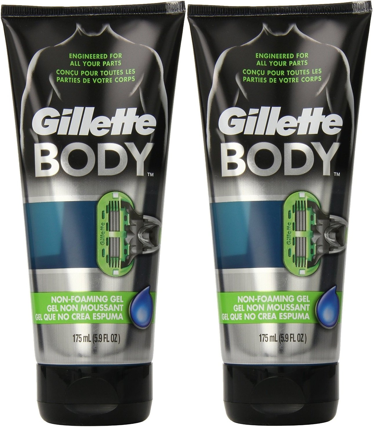Gillette Body Transparent Tube Shaving Gel 175ml (2 PACK)