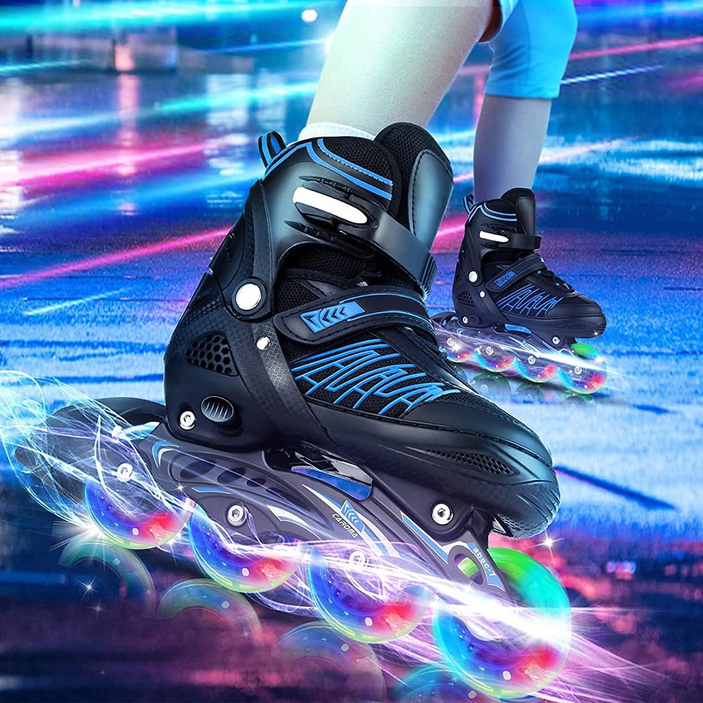 4X Flash Inline Skate Wheels Roller Skates LED Glow Light 64-80mm Outdoor Wheel