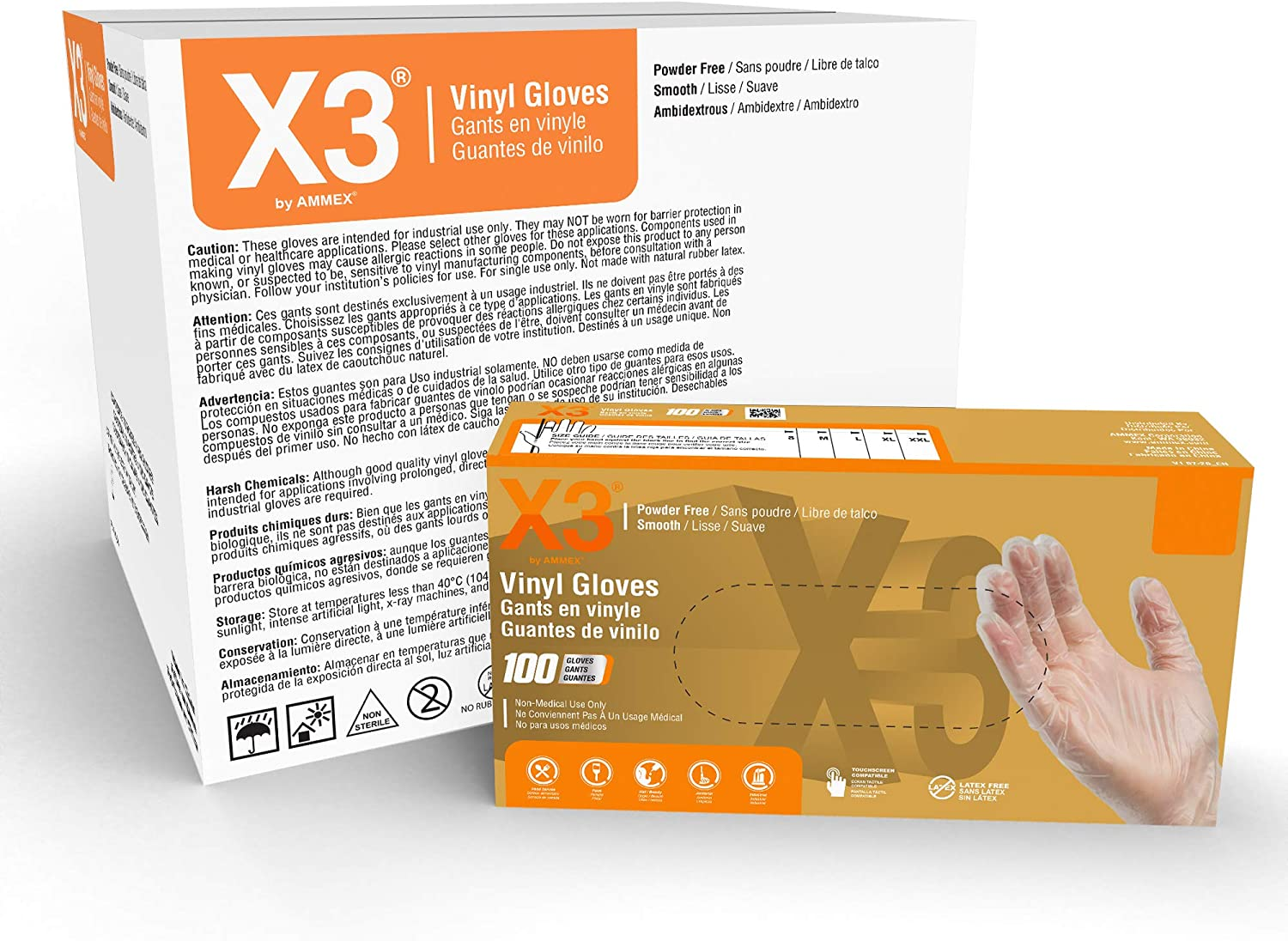 X3 Clear Vinyl Industrial Gloves, Case of 1000, 3 Mil, Size X-Large, Latex Free, Powder Free, Food Safe, Disposable, Food Safe, GPX348100