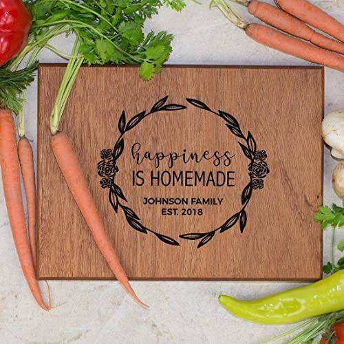Personalized Family Cutting Board - Happiness is Homemade - Rosebud Wreath