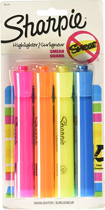 Sharpie Highlighter Tanks Narrow Chisel Tip 4 Colors 4 Ct//Pk with Smear Guard