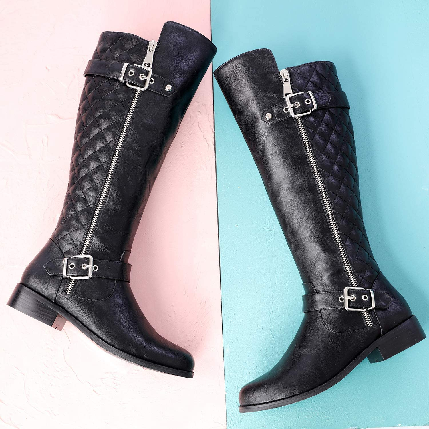 Odema Womens Knee High Riding Boots Wide Calf Plush-Lined Buckle Zip Low Heel Warm Boots Size 6-10.5