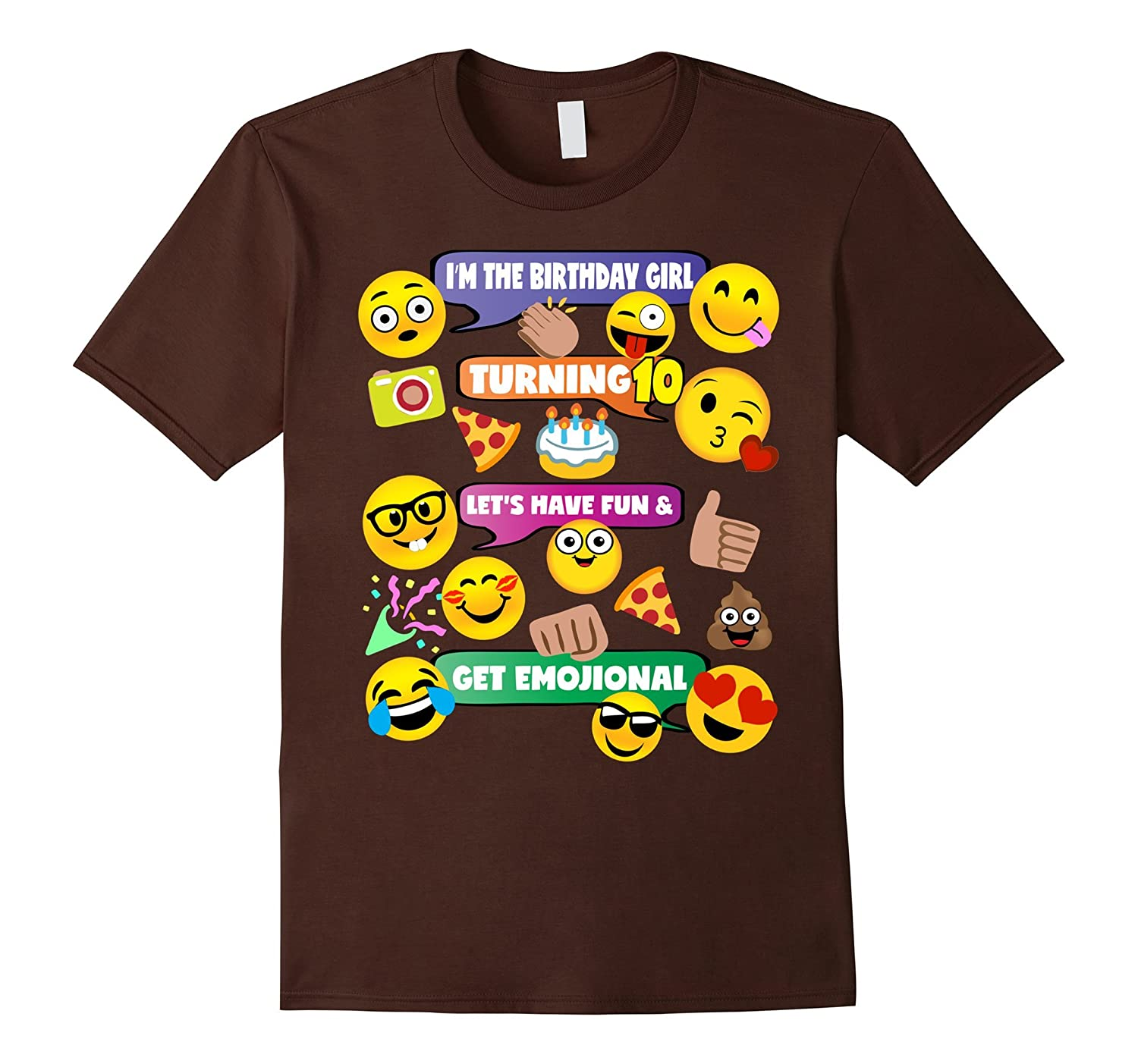 Girls Emoji Birthday Shirt Age 10 Party Theme Outfit