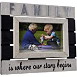 Spiretro 4 x 6 inch Sentiments Memorial Monogram Family Picture Frame with Plexiglass, Linen Wrapped Wood Frame, Tabletop Dis