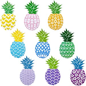 Marspark 45 Pieces Pineapple Cutouts Tropical Cutouts Summer Theme Cutouts with Glue Point Dots for Summer Hawaii Party Classroom Decoration Birthday Party, 6 Inch