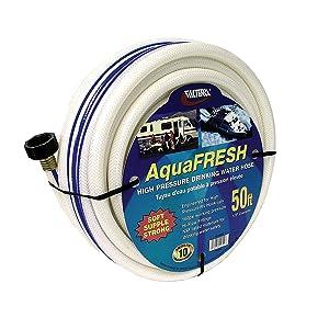 "Valterra AquaFresh High Pressure Drinking Water Hose, Water Hose Hookup for RV - 1/2"" x 50', White"