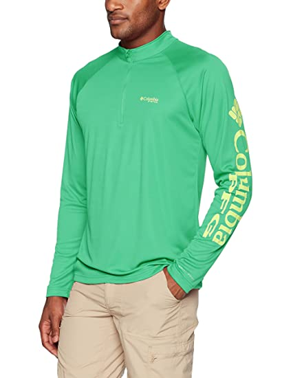 bff6c355334 Columbia Men's Terminal Tackle 1/4 Zip Shirt, Green Mamba/Black, X