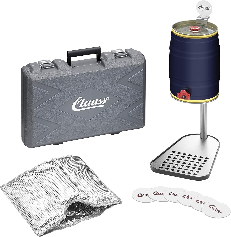 Clauss CL-60004 00 - Soporte para cerveza, incluye manguito de refrigeración, acero inoxidable, pie de acero lacado, color negro