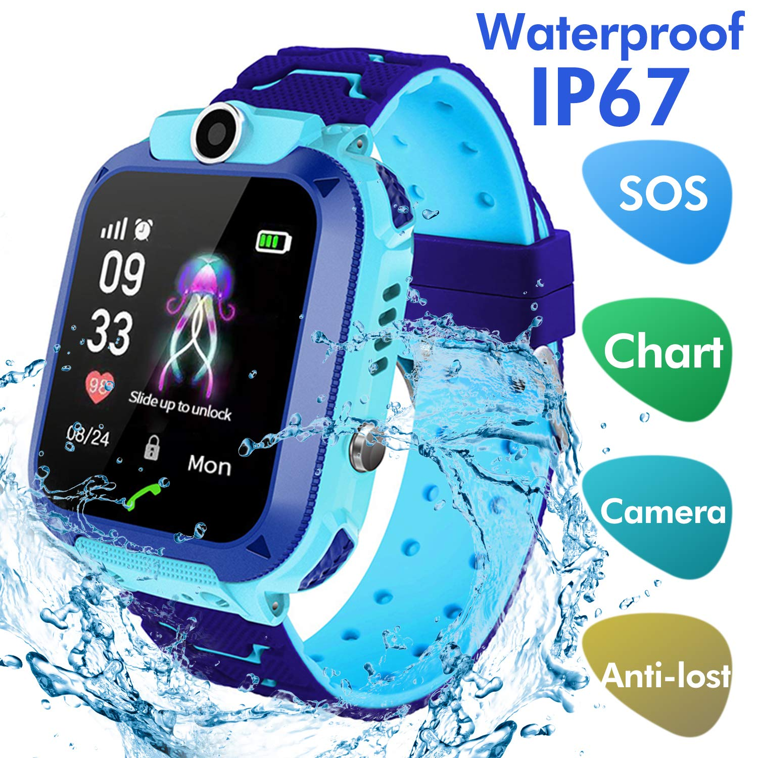 Jaybest Kids SmartWatch Waterproof, Touch Screen Mobile Smart Watches Phone for 3-13 Year Old Girls Boys, SOS Call Anti-Lost Sim Card Smartwatch with Camera, Game for Children Gift(blue)