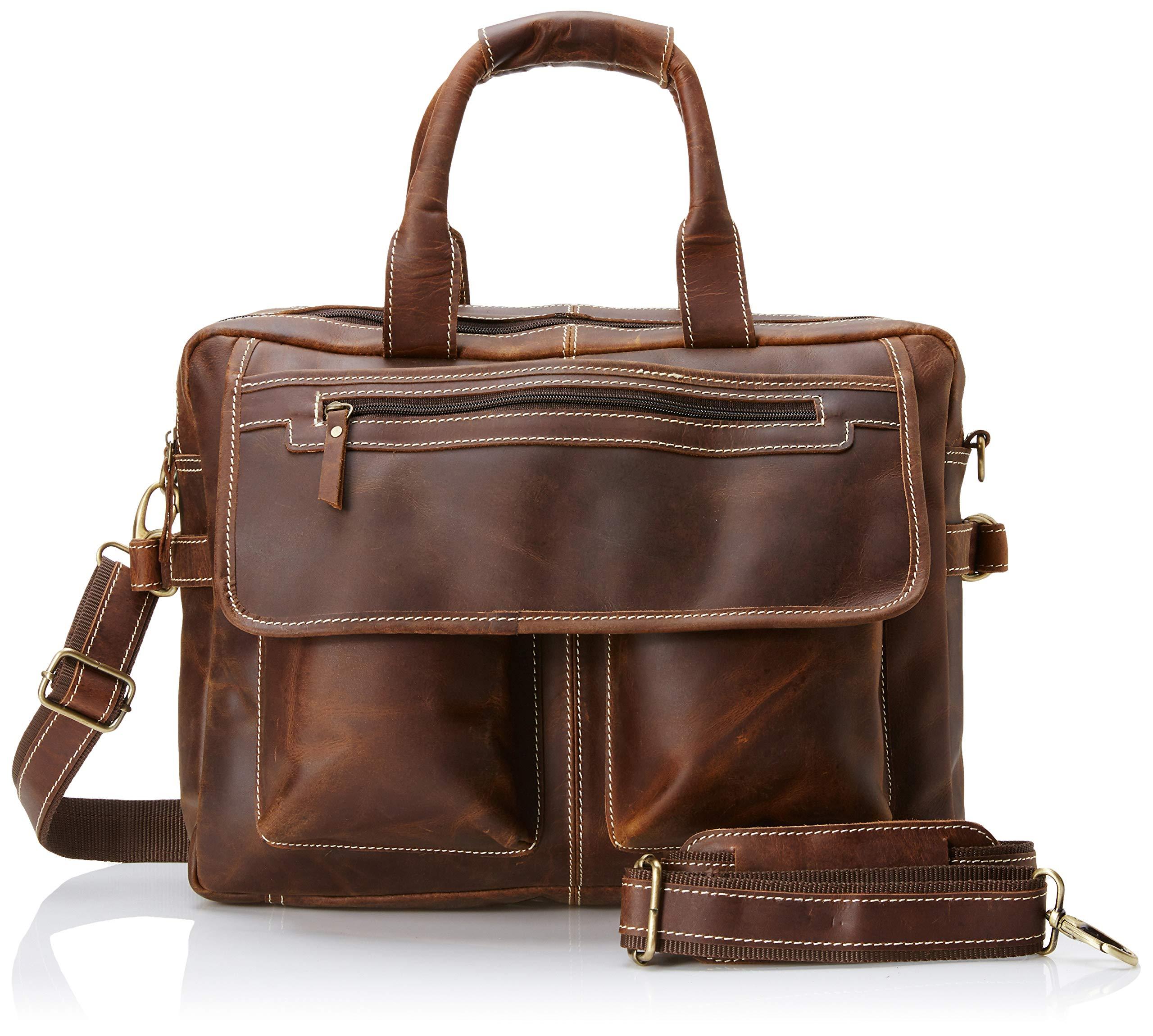 16 inch Vintage Buffalo Leather Messenger Satchel Laptop Briefcase Men's Bag Crazy Vintage Leather Messenger (Brown) by Ruzioon (Image #5)