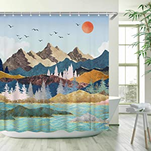 Stacy Fay Mountain Japanese Shower Curtain, Sun Shower Curtains Set with 12 Hooks, Waterproof Fabric Bathroom Curtain,Decorative Mountain Forest Sunset Sunrise Nature Landscape, 72x72''