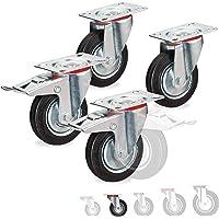 Relaxdays zware wielen set van 4, draaibaar, kogellagers, 2 wielen met rem, draagkracht tot 280 kg, wiel: 100 mm, zwart