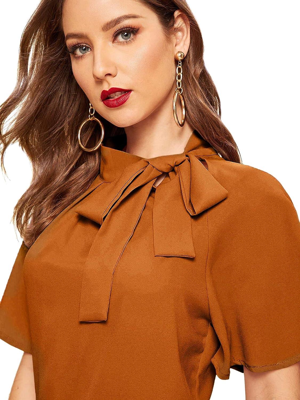 B07RM2J4RS SheIn Women\'s Casual Side Bow Tie Neck Short Sleeve Blouse Shirt Top 71jL5A2-KSL