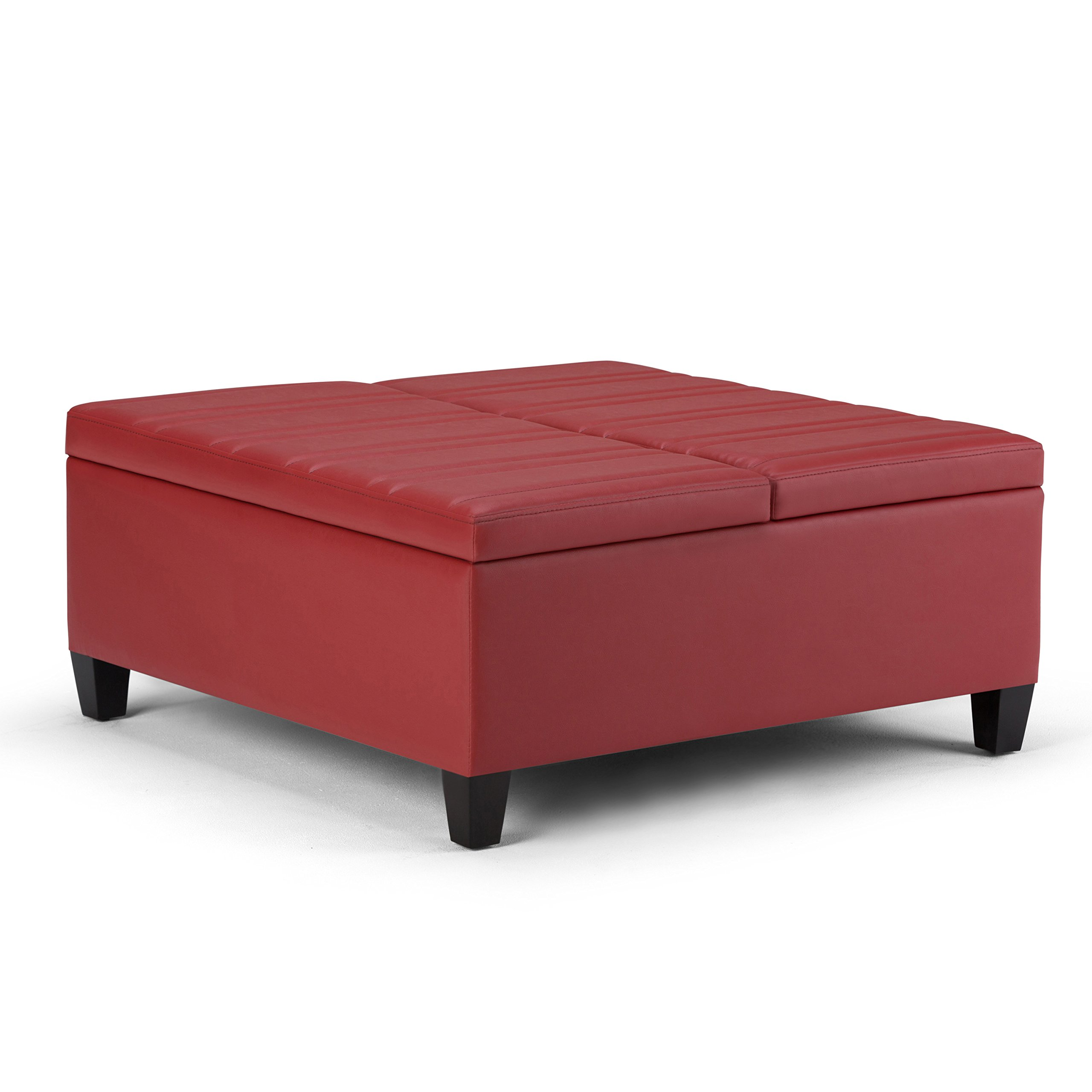 Simpli Home Ellis Coffee Table Storage Ottoman, Crimson Red