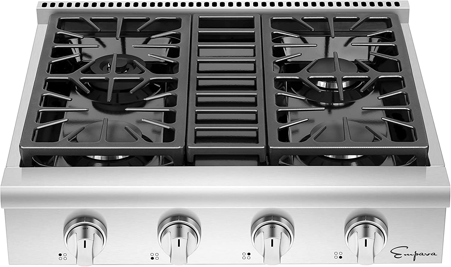 Empava 30 in. Pro-Style Professional Slide-in Natural Gas Rangetop with 4 Deep Recessed Sealed Ultra High-Low Burners-Heavy Duty Continuous Grates in Stainless Steel, 30 Inch, Silver