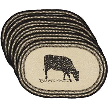 VHC Brands Farmhouse Tabletop Kitchen Miller Farm Charcoal Cow Jute Stenciled Nature Print Oval Placemat Set of 6, One Size, Bleached White