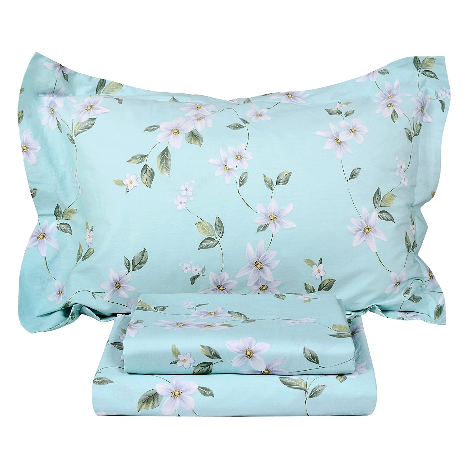 Green White Floral Queen FADFAY Cotton Bed Sheet Set bluee Hydrangea Floral Bed Sheets 4Piece King Size