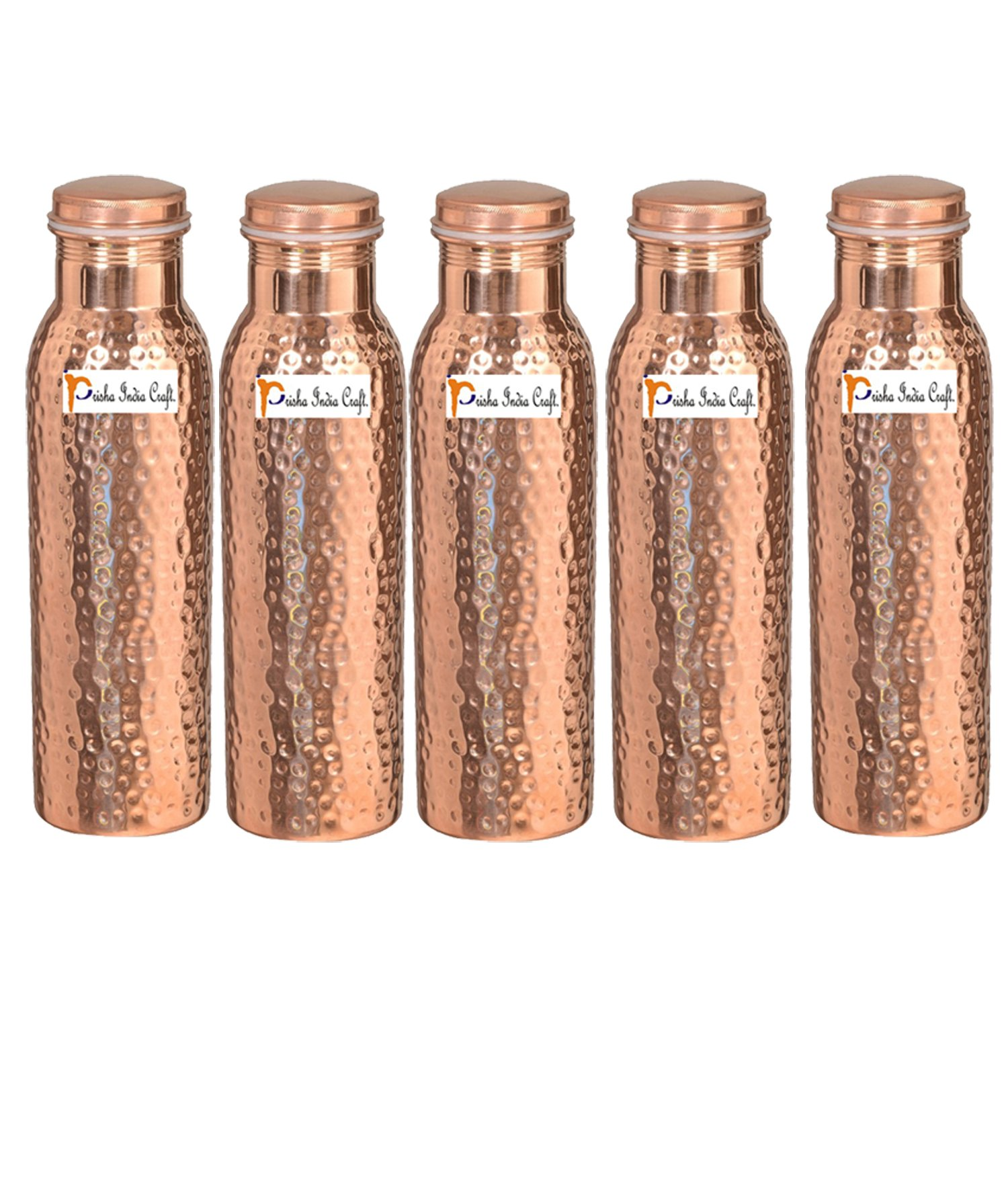 1000ml / 33.81oz - Set of 5 - Prisha India Craft - Hammered Copper Water Bottle | Joint Free, Best Quality Water Bottle - Handmade Christmas Gift