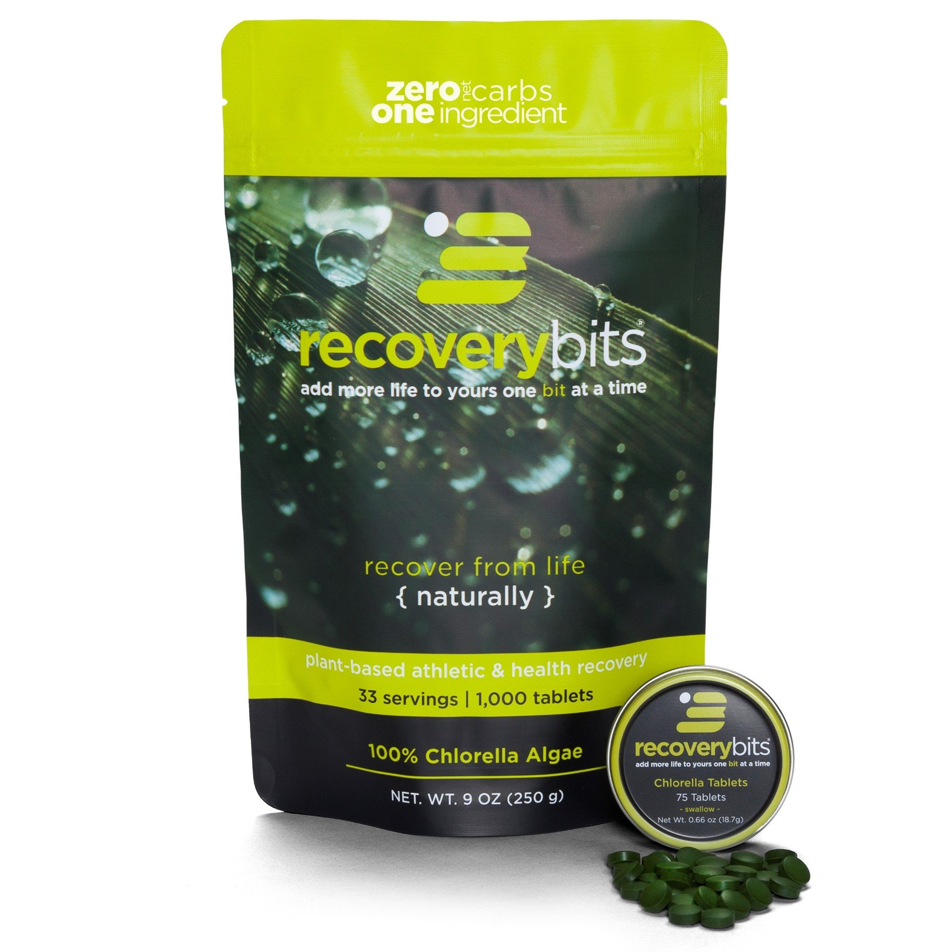 RECOVERYbits Pure Chlorella Tablets - Bag of 1,000 Tablets (250mg per Tablet) - Cracked Cell Wall, Non-GMO, Non-Irradiated, Raw, Green Algae - Keto, Vegan Friendly by ENERGYBITS