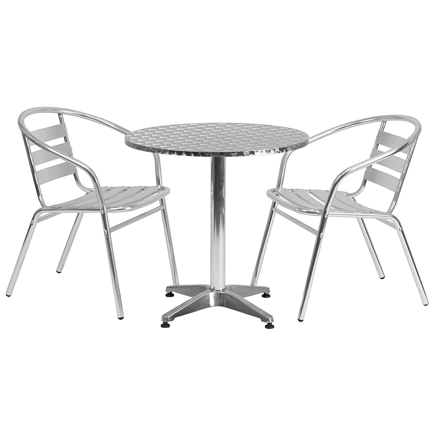 Flash Furniture 23.5'' Round Aluminum Indoor-Outdoor Table Set with 2 Slat Back Chairs TLH-ALUM-24RD-017BCHR2-GG
