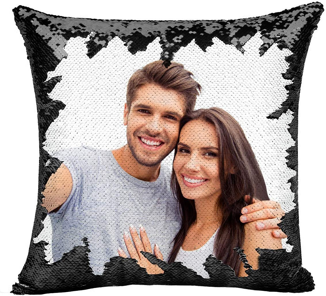 Custom Pillow, 16 x16 Personalized Custom Photo Sequin Pillow with Your Photos Including Pillow Insertion – Wedding Keepsake Pillow Magic Reversible Home Decor Personalized Customized Gifts Black