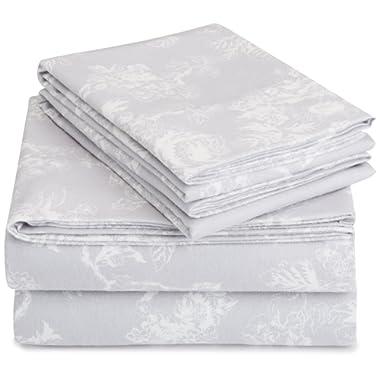 Pinzon 170 Gram Flannel Sheet Set – King, Floral Grey