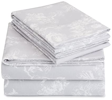 Pinzon Cotton Flannel Bed Sheet Set - King, Floral Grey best king-sized flannel sheets