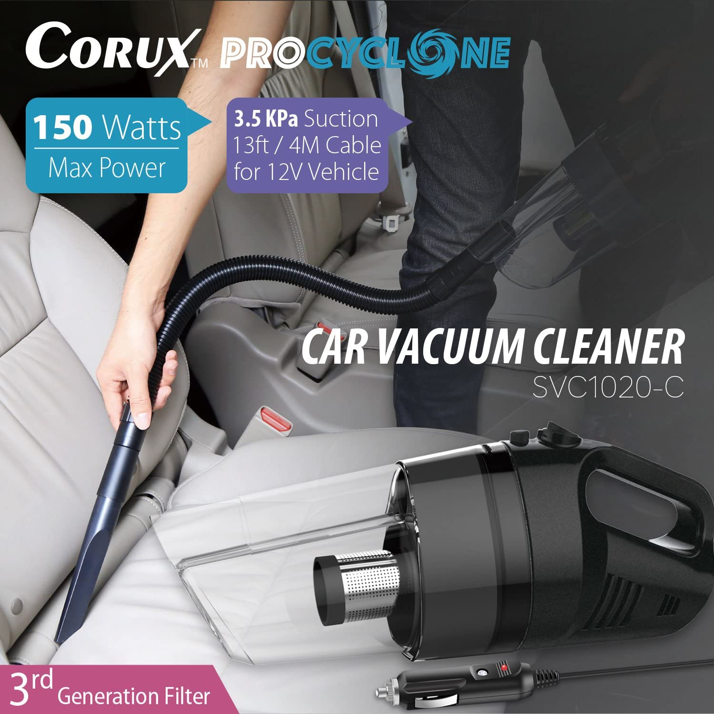 Corux 12v Handheld Auto Staubsauger Svc1020 C 150w Max Power 3500pa Saugkraft Patentierte Procyclone System 3 Generation Filter Auto