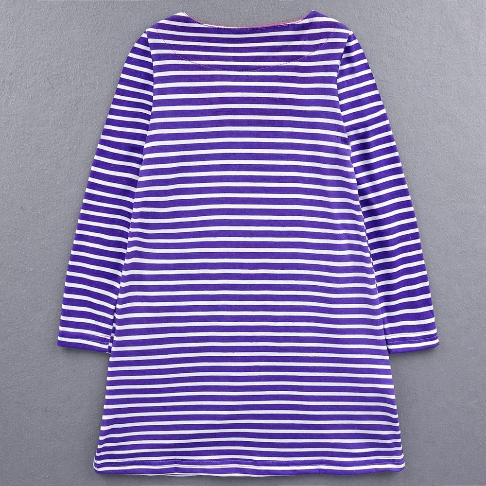 IPBEN Baby M/ädchen Prinzessin Kleid M/ädchen Jerseykleid mit Streifen Crewneck Kleid