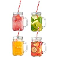 VonShef Mason Jar Glass Drinking Jam Jars Set of 4, 450ml Glasses WITH Reusable Straws, Twist Lids & Handles