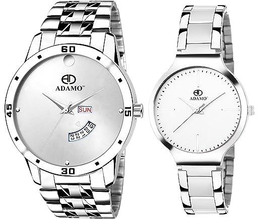 Analogue White Dial Couple Wrist Watch Combo