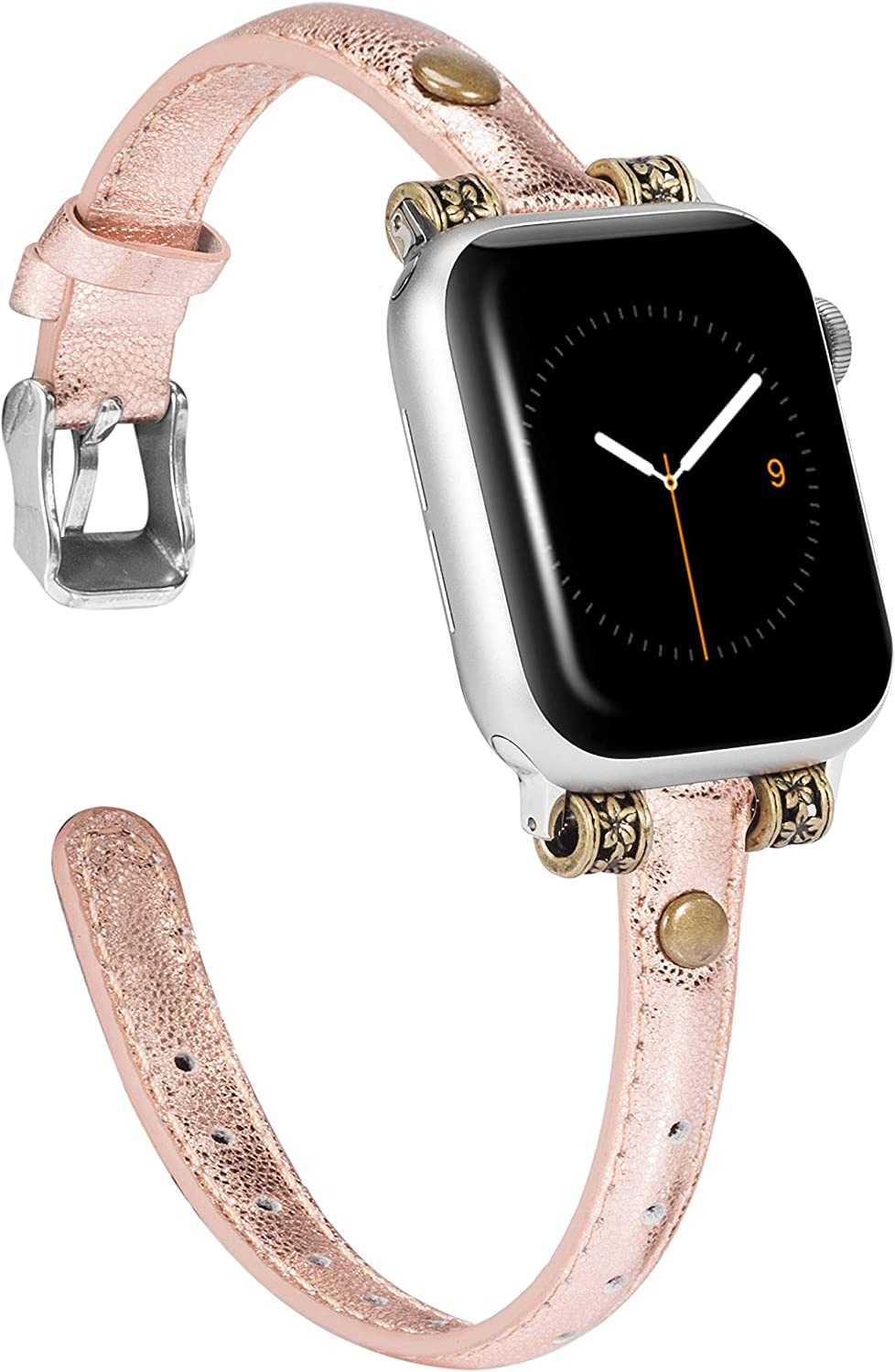 Wearlizer Leather Bands Compatible with Apple Watch Band 42mm 44mm for iWatch Womens Special Slim Vintage Wristband Replacement Strap SE Series 6 5 4 3 2 1 - Glitter Rose Gold