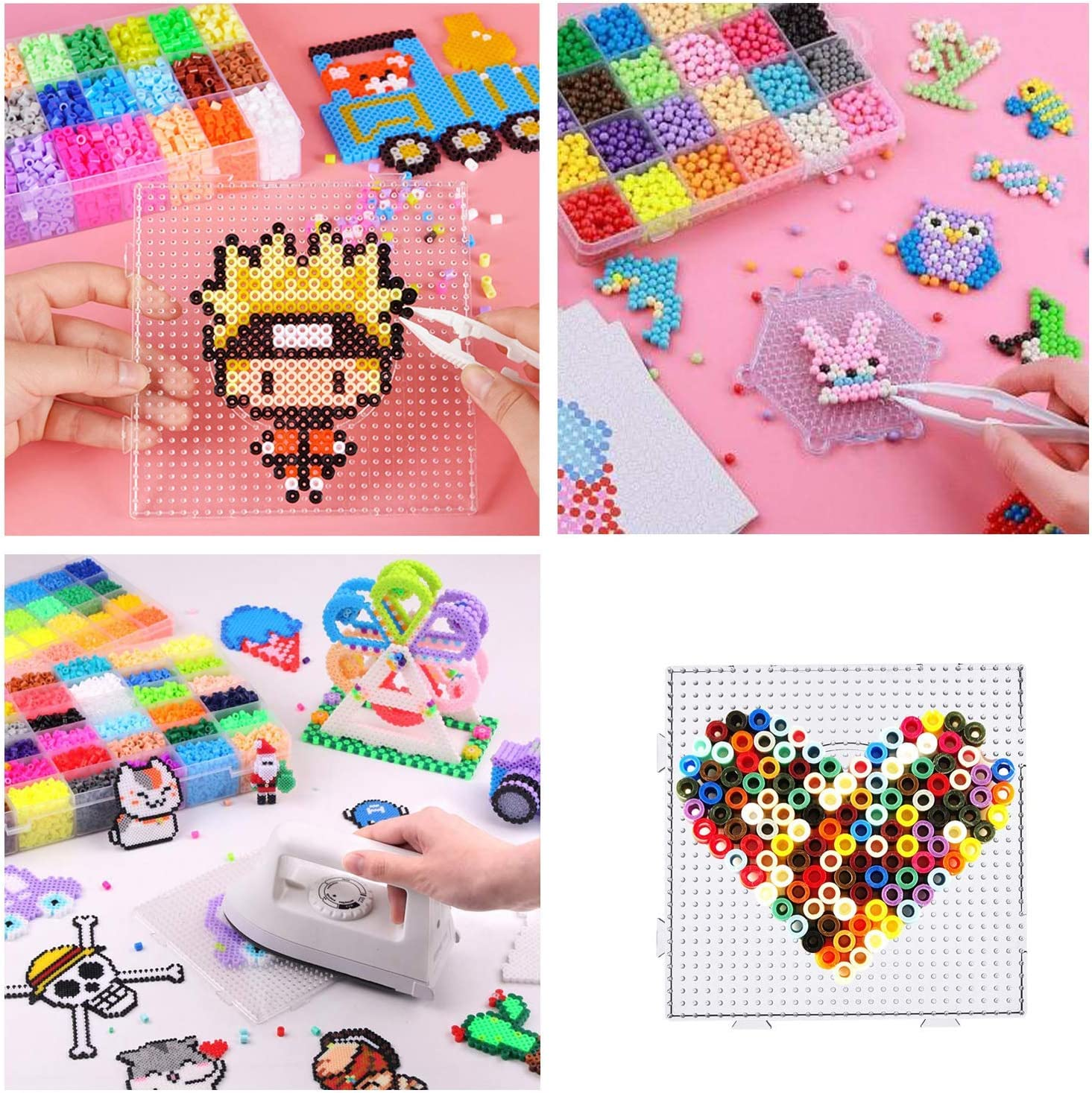 Ironing Paper and Keychain for Kids Craft Supplies 5 mm 6 Pack Large Square Clear Plastic Pegboards with Beads Tweezers Seasonsky 52 PCS Fuse Beads Boards Set