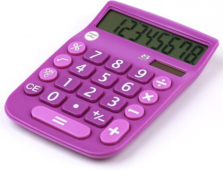 Office+Style 8 Digit Dual Powered Desktop Calculator, LCD Display, Purple