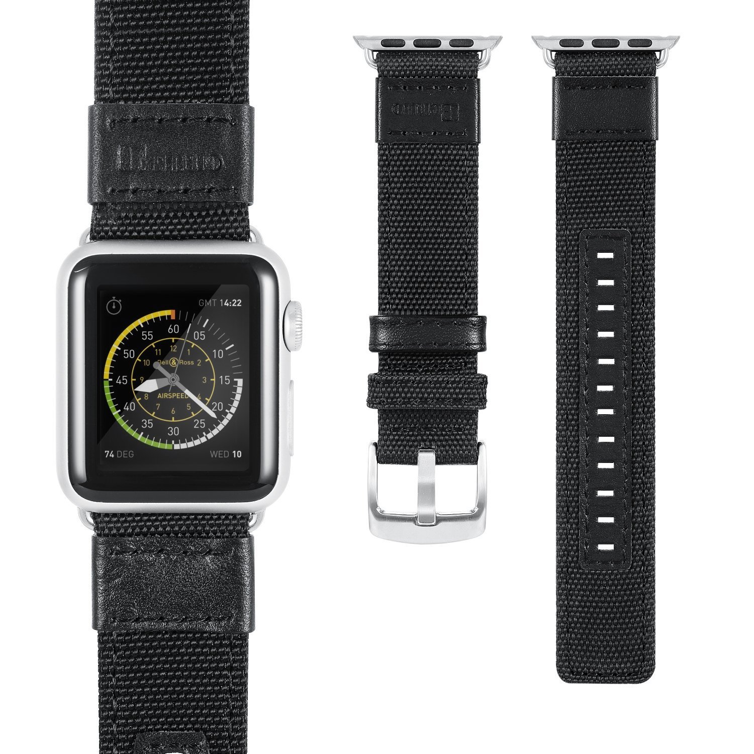 Amazon com apple watch series 3 band benuo premium nylon woven smart watch replacement 38mm wrist strap with adjustable buckle for new apple iwatch