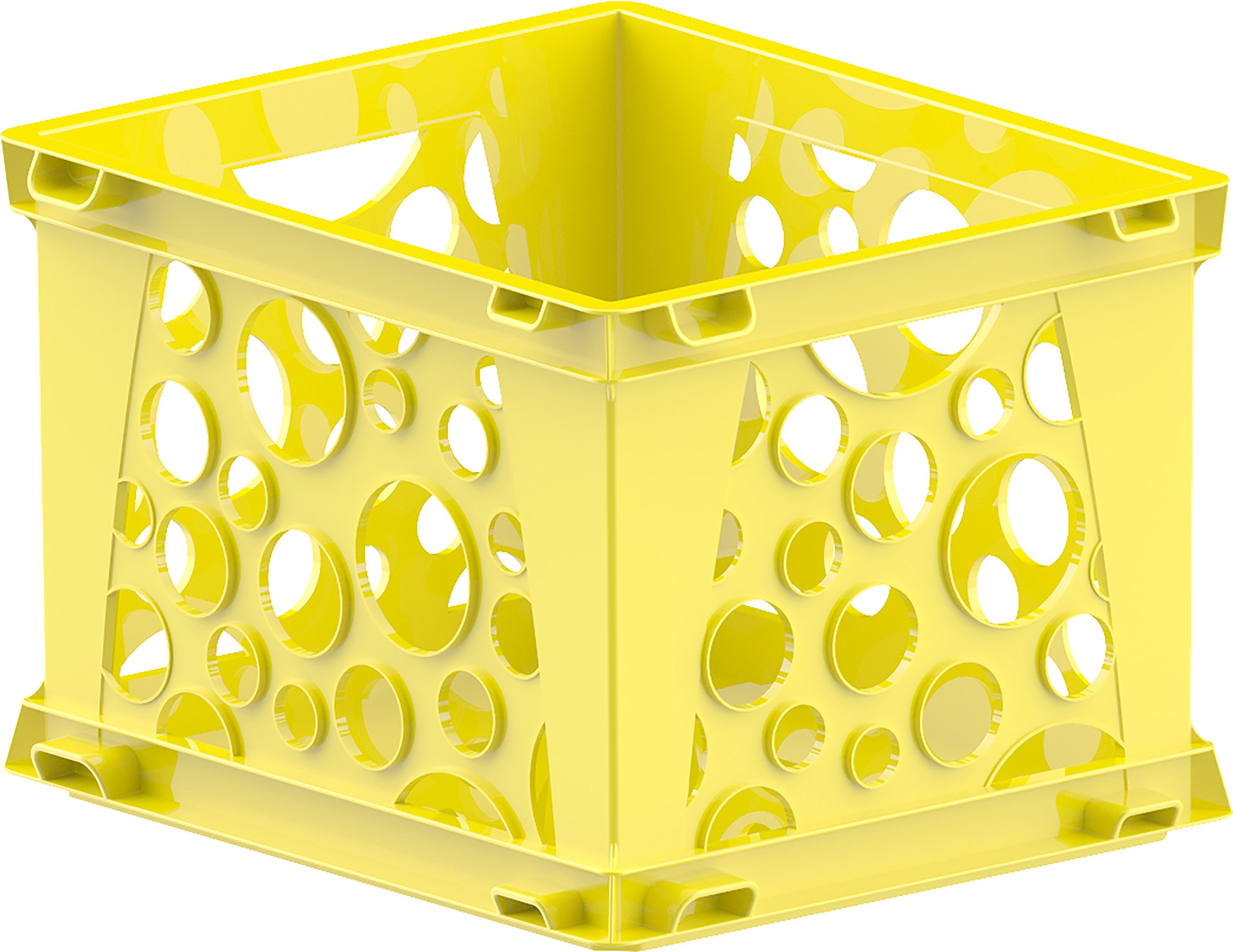 Storex Large File Crate, 17.25 x 14.25 x 10.5, Classroom Yellow, Case of 3 (61462U03C)
