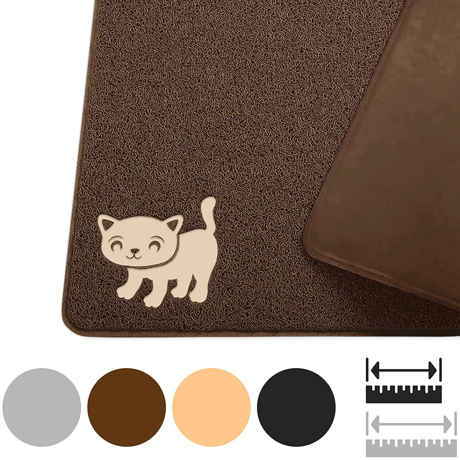 """Smiling Paws Pets Cat Litter Mat, BPA Free, XL Size 35""""x23.5"""", Non-Slip - Tear & Scratch Proof, Easy to Clean Kitty Litter Catcher with Scatter Control (Extra Large Gray)"""