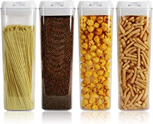 Nicunom Set of 4 Airtight Food Storage Container, 64 Oz Pasta Containers with Easy Lock Lids BPA Free Plastic for Kitchen Pantry Organization and Storage Keeping Food Dry & Fresh
