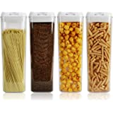 Nicunom Set of 4 Airtight Food Storage Container, 64 Oz Pasta Containers with Easy Lock Lids BPA Free Plastic for Kitchen Pan