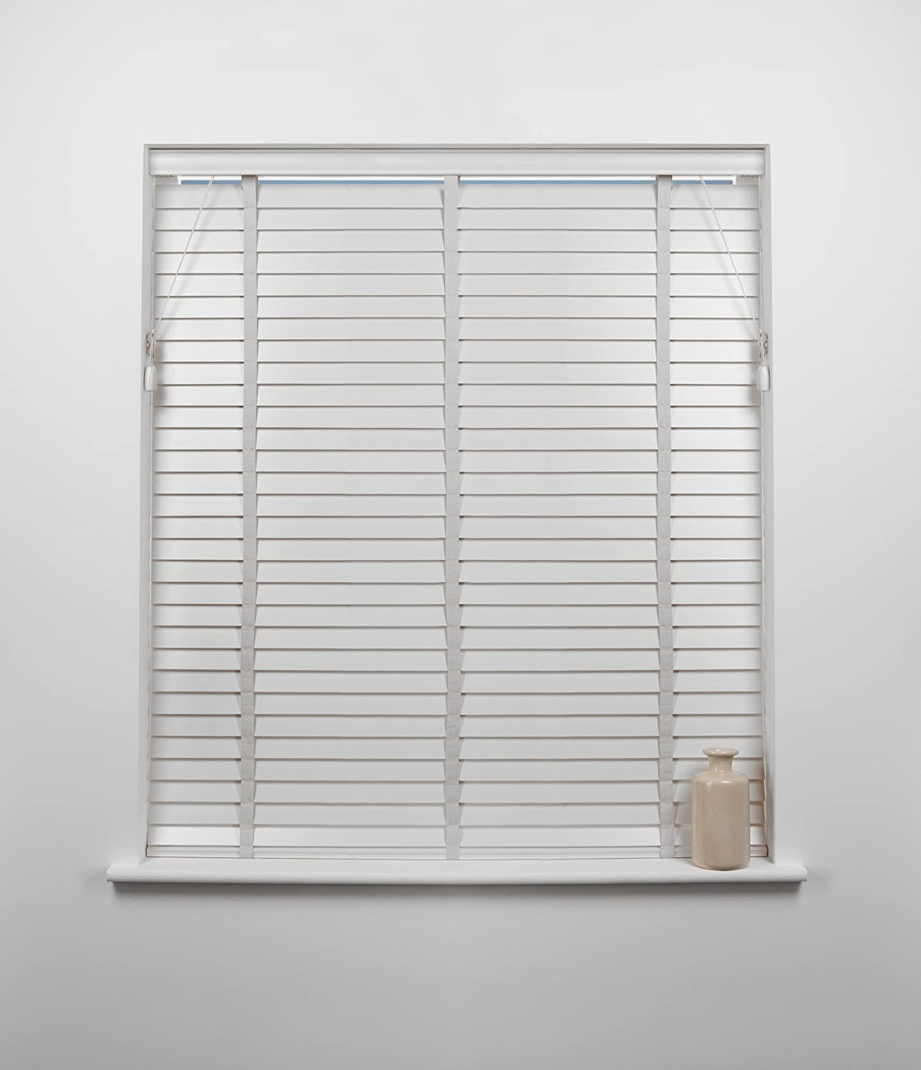 50mm Wood Venetian Blind, White, 120cm Wide x 160cm Drop Sunflex