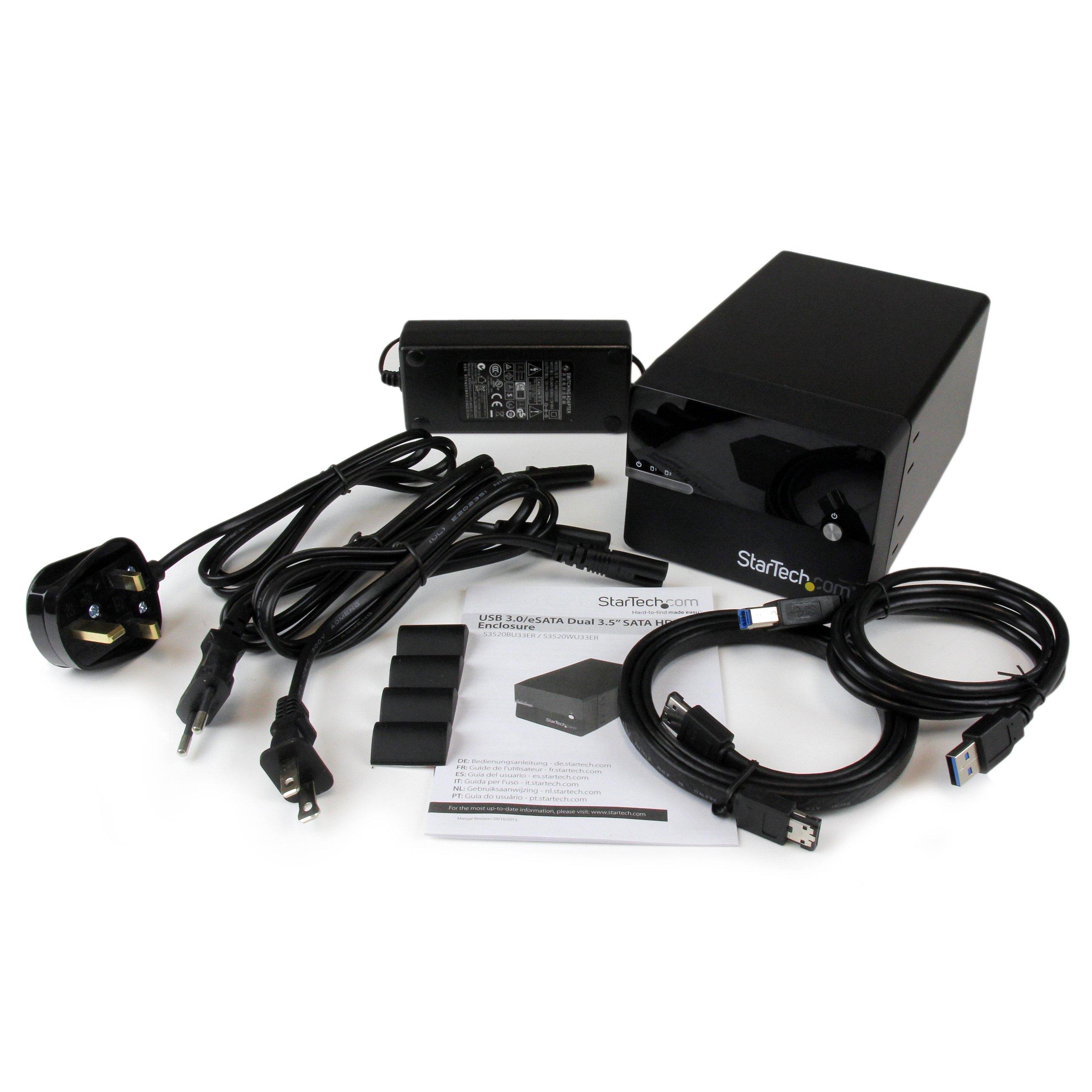StarTech.com USB 3.0 eSATA Dual 3.5-Inch SATA III Hard Drive RAID Enclosure with UASP and Fan - Black (S3520BU33ER) by StarTech